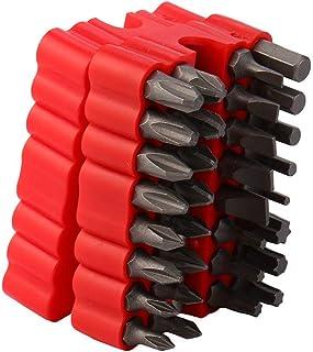 33-Piece Security Bit Set with Magnetic Extension Bit Holder,destornilladores, juego de brocas magnéticas, juego de brocas especiales, llave hexagonal Star Hex Soporte Seguridad para tornillos (Rojo)