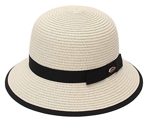EOZY Chapeau Paille Femme Chapeau Cloche Vintage Solaire Pliable Capeline Visière Anti-UV Plage Voyage Élégant Été Réglable 56-58cm (Beige)