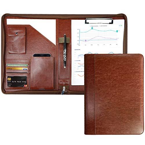 クリップボード 二つ折り バインダー A4 書類契約フォルダー 高級感溢れのビジネスバッグ 事務用品 入職プレゼント ギフト PUレザー クリップファイル ペンホルダー付き 名刺入れ(ブラウン)