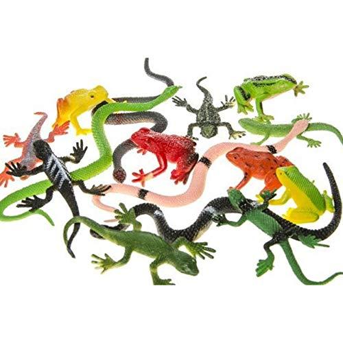 Lg-Imports 15x Reptiles figuras de parte de animales Colección serpentinas ranas Gecko plástico