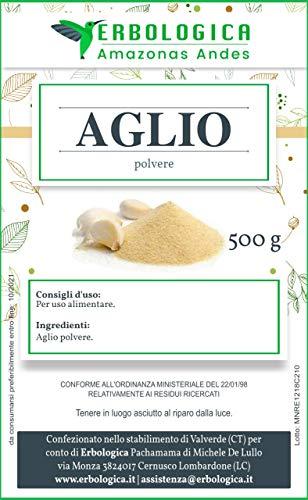 Aglio in polvere confezione da 500 grammi   100% Naturale, Vegano, Senza Additivi o Aromi. Perfetto per salse e condimenti - Erbologica Amazonas Andes