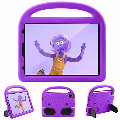 Children Tablet protective Case Cover All-inclusive Handle cartoon shell For Apple iPad Pro 11' inch 2nd Generation 2020 With pen slot Stand (Purple)