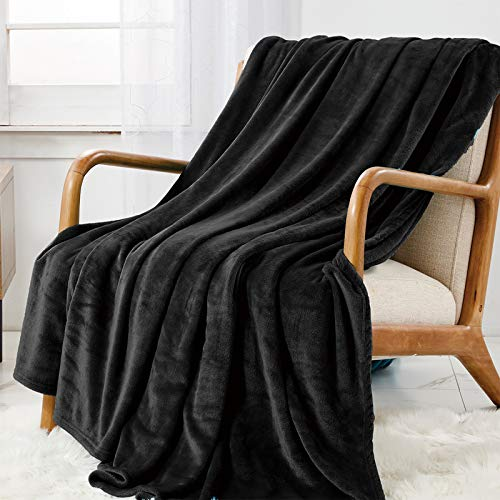 WAVVE Manta Franela Reversible 130x150 cm para Cama 80, Manta de Sofá 100% Microfibra, Suave, Caliente, Transpirable para Hogar, Oficina, Viaje (Negro)