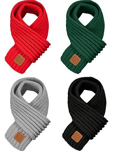 SATINIOR 4 Stück Kinder Strickschal Winter Einfarbig Kleinkind Wwärmer Schal für Junge Mädchen (Rot, Grün, Schwarz, Hellgrau)