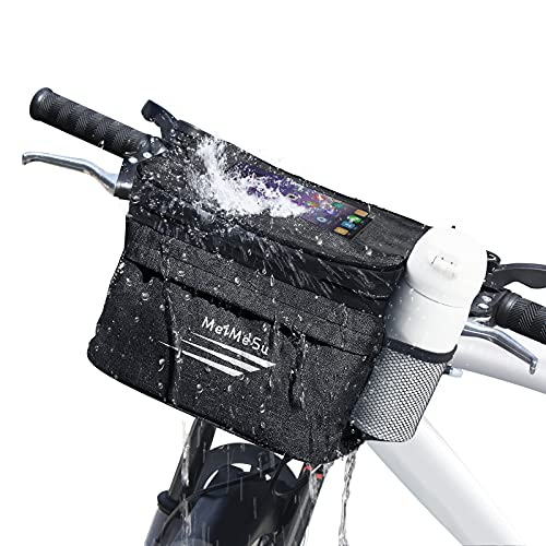 Bike Handlebar Bag, Bicycle Handlebar Bags - Waterproof Cycling Phone Holder Mount Front Bag, Bikes Basket with Pocket Cold and Warm Insulation Bike Storage Pouch for Cycling Men Women Outdoor