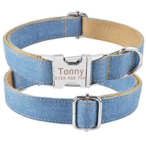 Collar de Perro Personalizado Nylon Plaid Boy Girl Unisex Collar de Perros Pequeño Grande Personalizado Nombre Grabado Etiqueta de identificación Producto Collares de Perro-H_XS