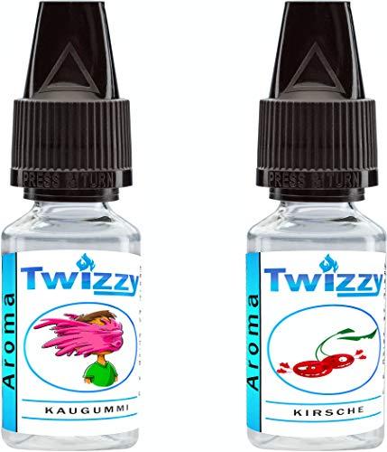 2 x 10ml Twizzy® Cherry Chew Aroma Bundle   Kaugummi, Kirsche   Aroma für Shakes, Backen, Cocktails, Eis   Aroma für Dampf Liquid und E-Shishas   Ohne Nikotin 0,0mg   Flav Drops
