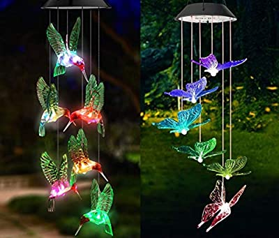 RUBY-Q Solar Wind Chime 2 Pack Hummingbird and Butterfly Color Changing Solar LED String Lights Outdoor Mobile Hanging Patio Light