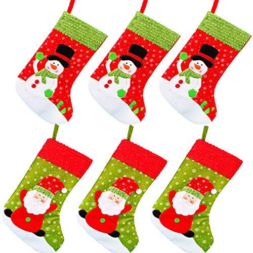 Biluer 6PCS Nikolausstrumpf Set Weihnachtsstrumpf Nikolausstiefel Zum Befüllen Weihnachtssocken für Weihnachtsdeko Kinder Geschenk Kamin Nachttisch Tür Hängeornament