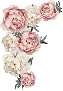 Family Wall Flower Decals Stickers, Peony Flower Pattern Wall Stickers Art Applique Living Room Bedroom Decoration Backgro...