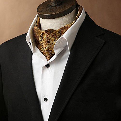 LIANGJUN Männer Elegent Krawattenschal Krawatte Hochzeit Formelle Anlässe Schal Büro Hemd, 7 Farben Erhältlich, 117X15.5cm (Color : Gold Color, Size : 2#)