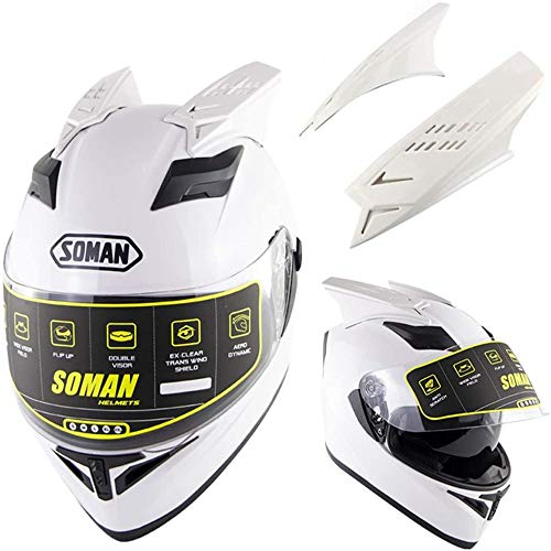 ZHXH Yedina Motorcycle Helmet Dot Certified Detachable Lined Road Racing Scooter Cromwell Helmet Jet Double Mirror Modular Flip Helmet And Antelope Horn (m, L, Xl, Xxl)