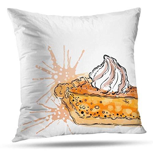 Autumn-Tasty Throw Pillow Fundas, Fundas de Almohada Pastel de Calabaza con Dibujo Blanco Crema Acuarela Menú de otoño Cojín Uso para Sala de Estar Dormitorio Sofá Oficina Pastel de Calabaza C