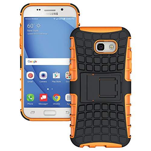 Kompatibel mit Hülle Samsuang Galaxy A5 2016 TPU PC Schutzhülle Case 360 Grad Bumper mit Kickstand Reifenmuster Handytasche Handyhülle für Galaxy A5 2016 Handyhülle (Samsung Galaxy A5 2016, Orange)