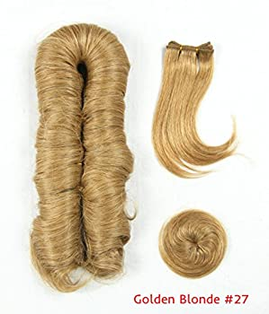 Short Pixie Finger Roll Italian Wave 27 Wefts +1 Top Closure+1 Side Bang Weaves Wefts Honey Blonde #27 100% Remy Human Hair Full Head Set also can be used to make a wig