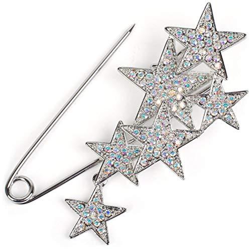 styleBREAKER Damen Schmucknadel mit Strass Sterne, für Ponchos, Tücher oder Schals, Sicherheitsnadel 05050072, Farbe:Silber/Silber