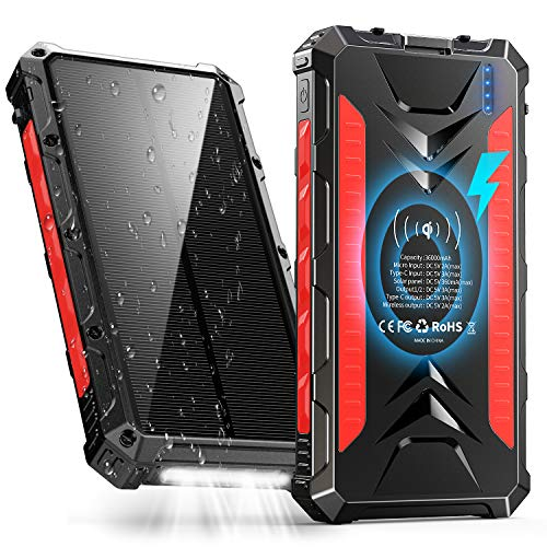 Solar Power Bank 36000mAh, QI Wireless Outdoor Rainproof Portable Solar Charger with 3 Outputs & Dual Inputs & LED Flashlight, External Battery Pack...