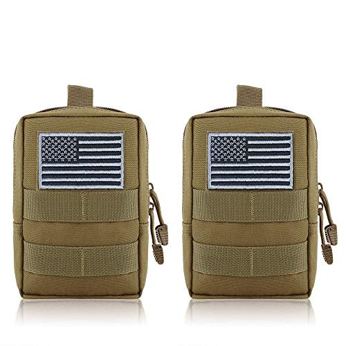 FUNANASUN MOLLE Pouches - 2 Pack Tactical Compact Pack Water-Resistant Utility EDC Pouch Small Black with US Flag Patch Tan