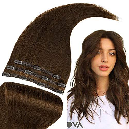 RUNATURE Clip in Extensions Echthaar 50cm 20 Zoll Farbe 4 Schokoladenbraun Haarteile Echthaar 50g 3 Stück Haarextension Echthaar Clips für Frauen