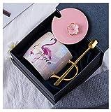 Novità Fenicottero Rosa Tazze in Ceramica con Coperchio e Cucchiaio Tazza di Caffè Americano Tazze di Bevanda Porcellana Prodotto Ufficiale Lavabile in Lavastoviglie(Fenicottero con confezione regalo)