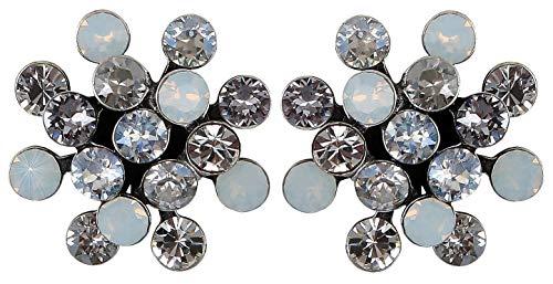 KONPLOTT Magic Fireball Ohrstecker für Damen   Exklusive Designer-Ohrringe mit 32 Swarovski Steinen   Glamouröser Ohrschmuck passend zu jedem Anlass   Handgefertigter Damen-Schmuck   Weiß
