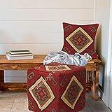 Handicraft Bazarr - Funda de cojín de lana anudada a mano y yute otomano de lana para el suelo, funda de almohada y reposapiés de lana de yute por Amazon