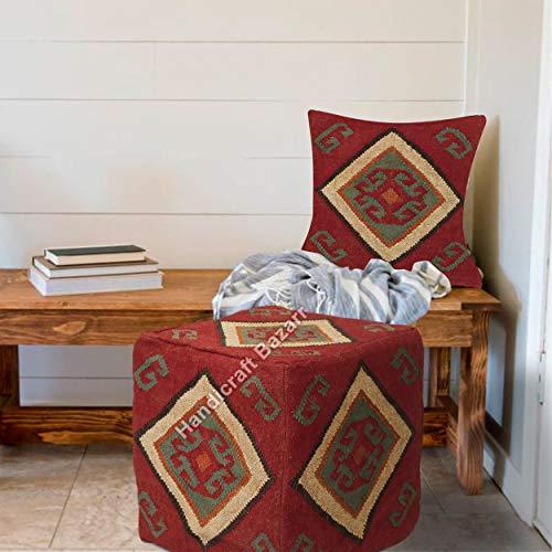 Handicraft Bazarr Weihnachtlicher Jute-Kissenbezug, Kelim-Pouf, rustikal, dekorativer Ottomanen-Bezug, geknoteter Fußhocker, Bohemian-Stil, für den Außenbereich