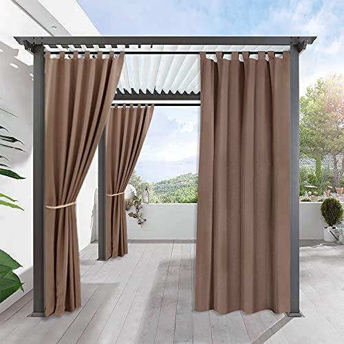 PONY DANCE Garten Vorhang Blickdicht - Outdoor Gardinen Blickdicht Vorhang Wasserdicht & Anti-Mehltau Gardine für Pergola Veranda Schlaufenschal, 1 Stück H 213 x B 132 cm, Cappuccino