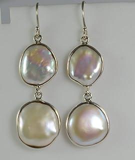 Orecchini pendenti fatti a mano in argento 925 con perle in argento massiccio
