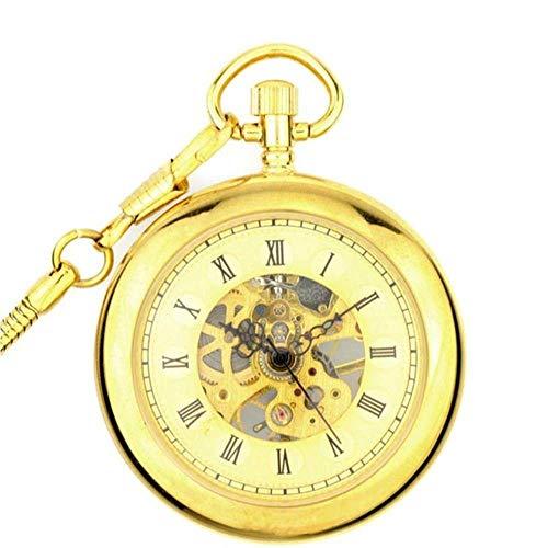 J-Love Reloj de Bolsillo de Viento de Mano mecánico Transparente a la Moda Reloj analógico Vintage para Hombres y Mujeres Regalo