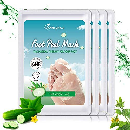 MayBeau Fußmaske 4 Paar Fuß Peeling Maske zu Hornhaut Entfernung mit Gurke Duft Fuß Hornhautentferner Peeling Socken Exfoliating Fußpflege Set für Samtweiche und zarte Füße