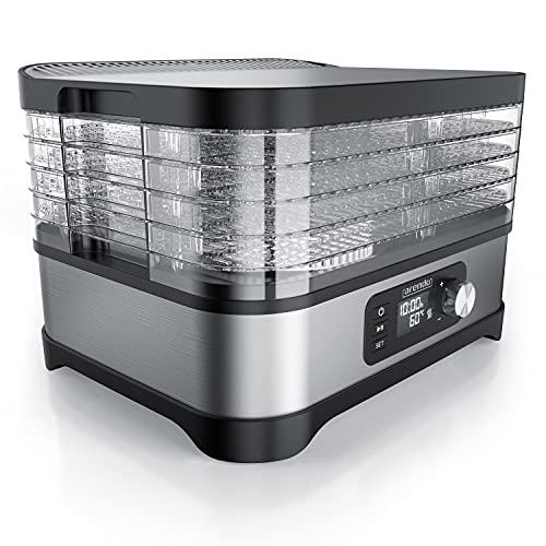 Arendo - Dörrautomat mit Temperaturregler 400 W - Edelstahl Dörrgerät für Lebensmittel Fleisch Früchte Gemüse - mit Timer bis zu 24 h - 35-70 Grad - 5 Einlegefächer - GS - Dehydrator - BPA frei