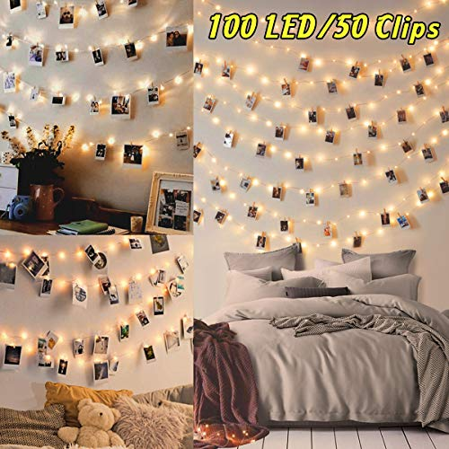 100LED Luci Led per Foto Polaroid - 10M Lucine Led Decorative per Camere Porta Foto Luci con Mollette Led per Foto Luci Decorative Interno