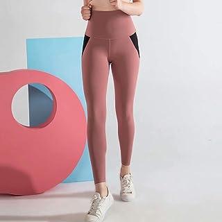 Nylon Fitness Tight Sports Pants Skin-Friendly Rebound Yoga Hip Shaping Body Leggings Female Summer,Pink,XL