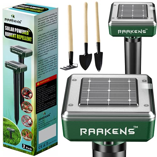 Solar Mole Repellent Ultrasonic 2 Pack Outdoor Powered Sonic Deterrent - Mole Stopper Scare Vole for Lawn Garden & Yard Home - Pest Control No Killing - Twice The Size and Power!