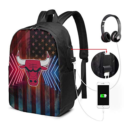 Chicago Basketball Bulls USB Backpack 17-Inch Laptop Backpack Crease Resistance Men and Women Large School Bag