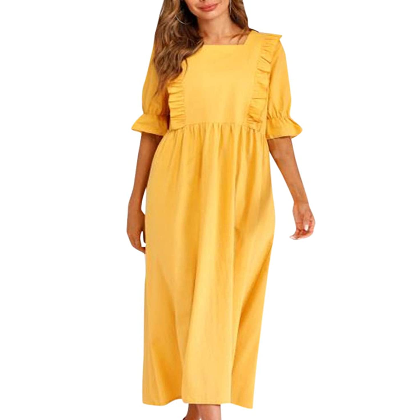 Women Cotton Linen Solid Color Half Sleeve Pleated Casual Shrug Ruffle Long Loose Plus Size Dress
