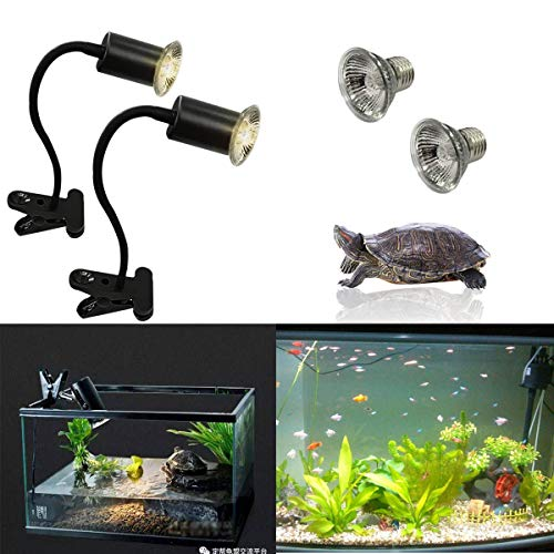 GABraden 2 packs Tortoise Heat Lamp,50W reptile tortoise heating UVA/UVB spotlight,With lamp holder,360°rotating clamp bracket,used for turtles,lizards,snakes and other reptiles (UK plug)