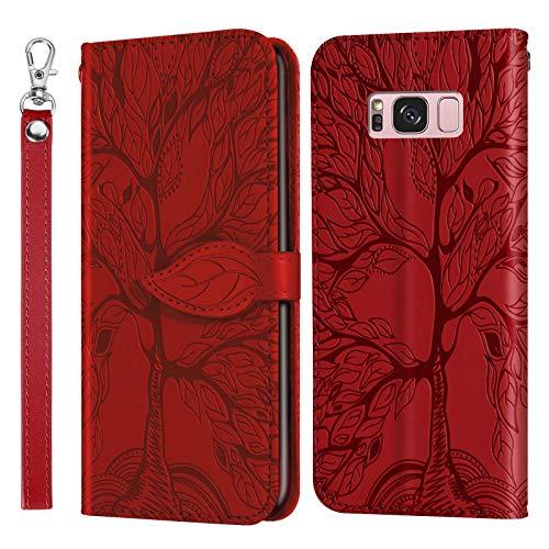 Miagon Prägung Lederhülle für Samsung Galaxy S8 Plus,Handyhülle Tasche Brieftasche Hülle Bookstyle Schutzhülle Flip Case Cover Klapphülle Kartenfächer,Baum Rot