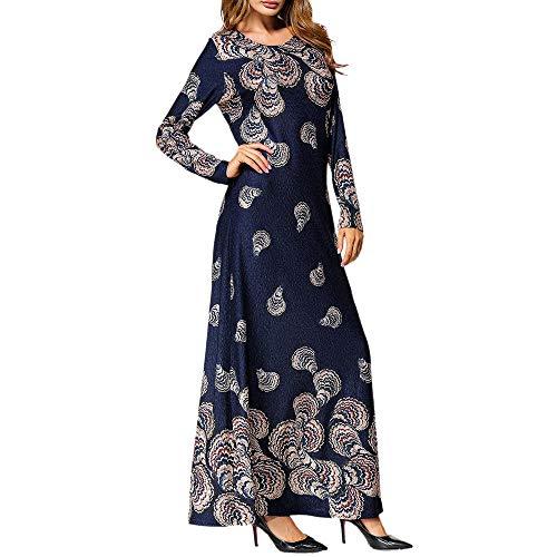GJKK Muslim Maxikleid Islamische Ethno Stil Gedruckt Langarm Arabische Partykleid Abaya Dubai Muslim Lang Maxi Kleid Muslimische Robe Elegant Moslemischer