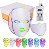 LED Face Mask 7 Color Facial Light Therapy Mask with Neck Mask Treatment Rejuvenation Light Therapy Device Beauty Skin Care Lightening Anti-aging Electric Phototherapy Mask