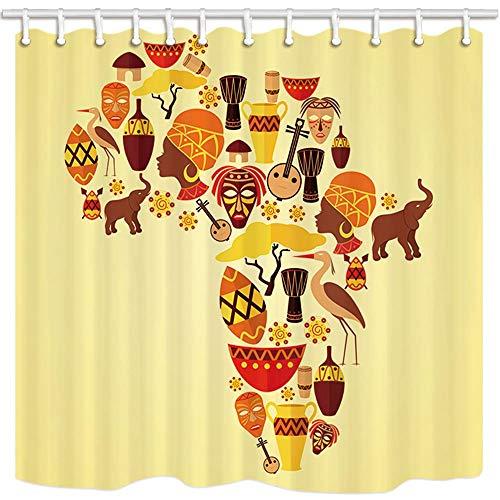 frica Cortinas de Ducha, Tema de la Cultura étnica África Mapa de Viaje Plan Colección de Objetos Tradicionales, Tela Impermeable Tela de poliéster Impermeable Accesorios de baño