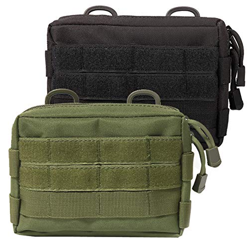 Novemkada MOLLE Pouches - 2 Pack Tactical Compact Water-Resistant Utility Gadget Gear EDC Pouch (Pack of 2 Black+Green)