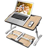 Laptop Desk, Bed Desk, Portable Laptop Stand for Bed and Sofa, 21 x 12 inch Laptop Table with Angle Height Adjustable Desktop, Foldable Lap Desk for Laptop and Writing.