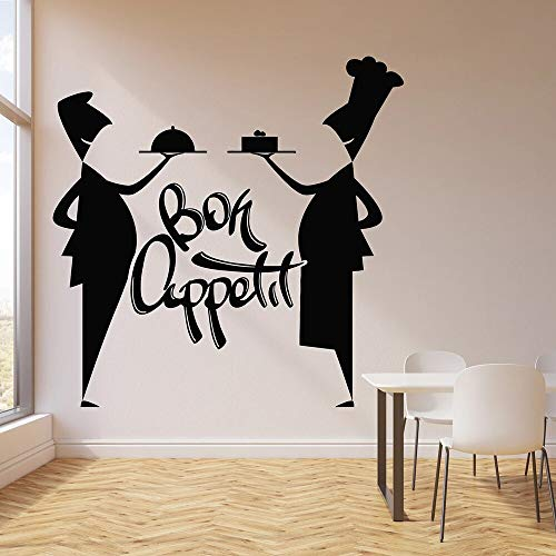 jtxqe Wall Art Stickers Quotes Bedroom Bon Appetit Cooking Chef Waiter Self-Adhesive Wall Stickers For Bedroom Decor Wall Decals Poster Wallsticker Mural 57x57cm