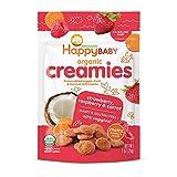 Happy Baby Organic Creamies Freeze-Dried Veggie & Fruit Snacks with Coconut Milk Strawberry Raspberry & Carrot, 1 Ounce Bag (Pack of 8) Organic Non-GMO Gluten Free Kosher