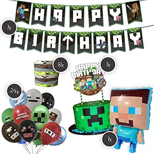 Juego de decoración XXL para fiestas infantiles con aspecto de juegos, 1 globo de papel de aluminio XXL, 1 guirnalda, 24 globos, 8 pulseras y 1 decoración de tartas, para mineros entusiastas.