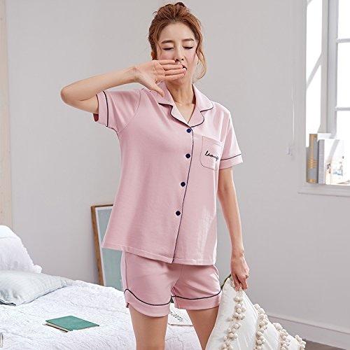 WXIN Pyjamas Femmes D'été Coton Costume Peut être Porté étudiant à Manches Courtes Coton Les Les Les dames Su