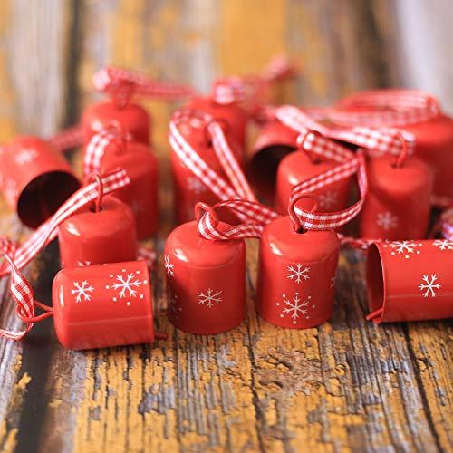 DAHI campanelle per albero di Natale, ciondolo a forma di fiocco di neve, campana per decorazione natalizia (rosso)
