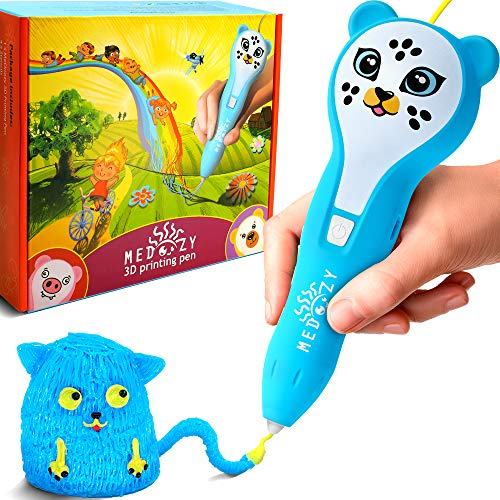MeDoozy 3D Pen Set - Ideal boy Gifts for Birthday - Best Toys for Kids and Teens - Cool Arts and Crafts Boys Toys - Popular Art Supplies kit - Top Science Children Present w/Animal Stickers (Blue)